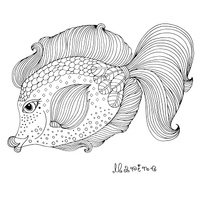 Vector hand drawn fairy fantastic sea fish Fairy tale characters