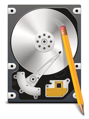 Pencil erasing information from the HDD, vector
