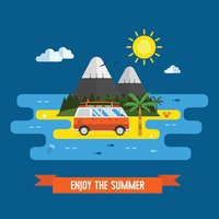 Summer Time Flat Design Island Landscape