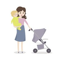 Mother with baby and stroller.