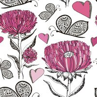 Floral vintage pattern with asters, butterfly. Hand drawn vector texture