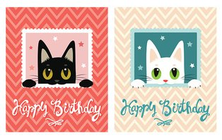 Happy Birthday Card. Happy Birthday Card With Cute Cat.
