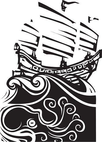 Woodcut Chinese Junk and Sea Life