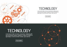 Flat designed banners for technology. vector