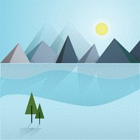 Flat Vector Landscape Background. Winter scenery with mountains
