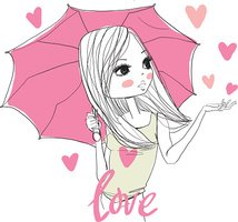 Cute girl with umbrella in heart rain.