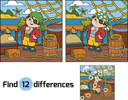 Find differences for children. Pirate on a ship