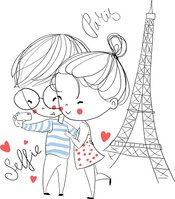 Young girl and boy making self portrait. Paris. Love card.