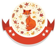 Logo template with fox and leaves