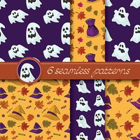 Vector set of six Halloween seamless patterns.