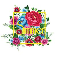 Summer holidays background with flowers. Template Vector.