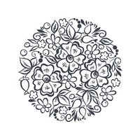 Vector floral design element. hand drawn flowers shaped in circle
