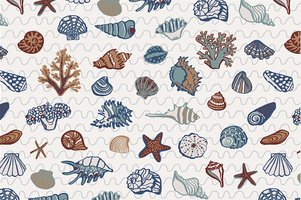 shell undersea world vector hand drawing pattern background