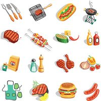 Barbecue Food Accessories Flat Icons Set