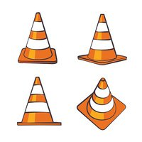 Cartoon Traffic Cones Set