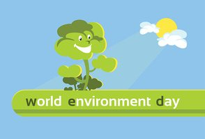Green Cartoon Smiling Tree World Environment Day Banner