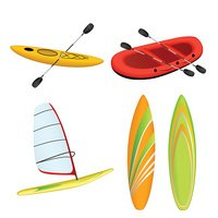Sport boat red rafting yellow kayak surfboard windsurfing isolated vector