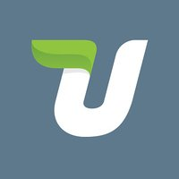U letter icon with green leaf.