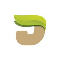 J letter icon with green leaves.