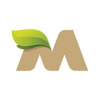 M letter icon with green leaves.