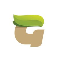 G letter icon with green leaves.