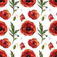 Watercolor poppies seamless pattern.