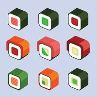 Set of stylish isometric sushi and roll icons