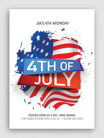 Pamphlet, Banner or Flyer for 4th of July.