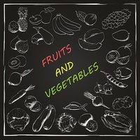 Fruits and vegetables drawn in chalk on blackboard