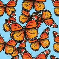 Vector seamless pattern with butterflies. Trendy summer background for fabric