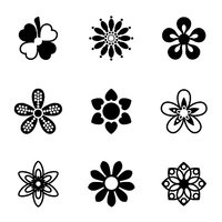 Vector Flowers icon set