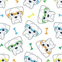 Seamless doodle hipster pattern with a boxer in glasses.