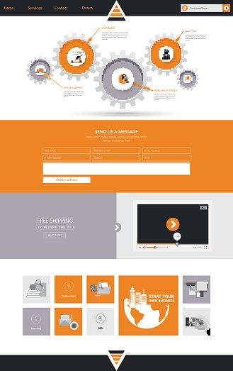 One Page Website Template Design, Orange and gray colors
