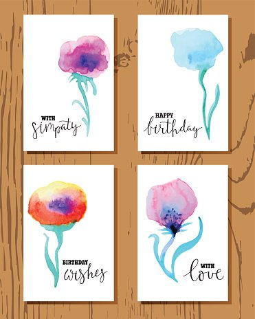 Set of greeting cards with abstract watercolor flowers.