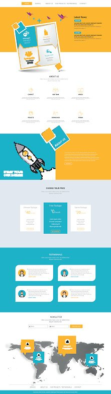 One Page Website Template Design with abstract rectange design
