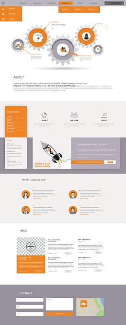 One Page Website Template Design with gears working together header,