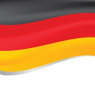 Vector illustration of a flying flag of Germany