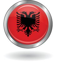 Vector round icon with flag of Albania