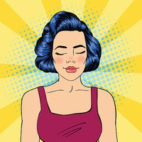 Woman with Closed Eyes. Meditating Girl. Relaxed Woman. Pop Art.