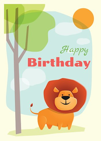 Birthday and invitation card animal background with lion