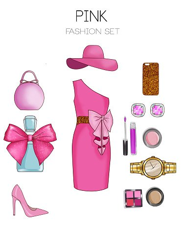 Fashion set of woman's clothes and accessories