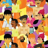 seamless pattern Indian men with a police officer. vector illust
