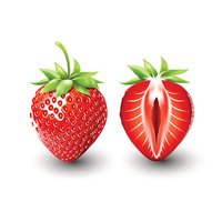 Red berry strawberry and half, fruit, transparent, Vector