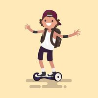 Cheerful guy rides on gyroscooter. Vector illustration