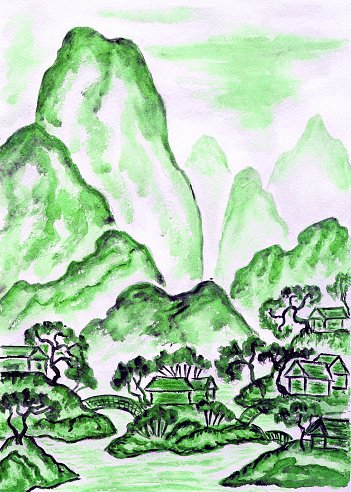 Landscape with green mountains, painting