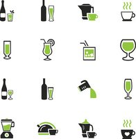 Utensils for the preparation of beverages icons