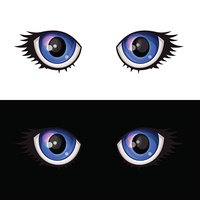 Blue Cartoon Anime Eyes Set. Vector