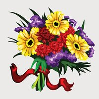 Bouquet of yellow, red and purple flowers