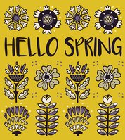Hello spring greeting card with decorative flowers on yellow background