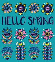Hello spring greeting card with decorative flowers on blue background